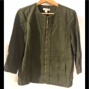 COLDWATER CREEK Weekend Zipped Jacket Army Green